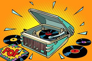 pop music, vinyl records and gramophone