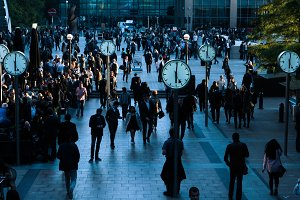 Ticking clocks at Canary Wharf
