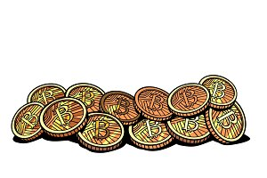 crypto currency bitcoin isolated on white background