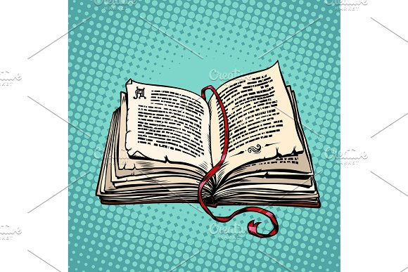Open old book with text, fairy tale or novel in Objects
