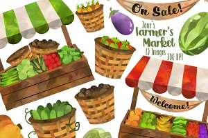 Watercolor Farmer's Market Clipart