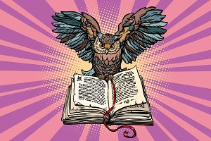 Owl on an old book, a symbol of wisdom and knowledge