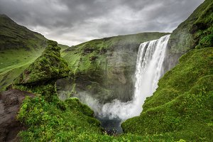 Skogafoss waterfall in southern Iceland from above