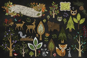 Chalkboard Woodland Animals Clipart