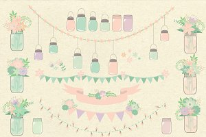Pink Mint Floral Mason Jars Clipart