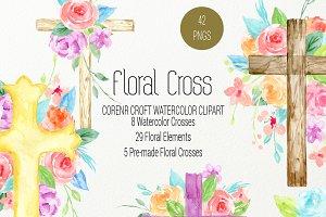 Watercolor clip Art Floral Cross
