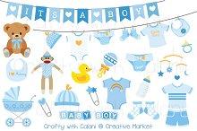 Blue Baby Clipart Set