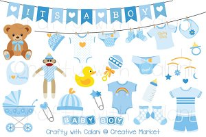 Blue Baby Clipart Set