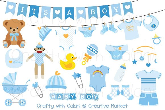 Blue Baby Clipart Set Graphic Objects Creative Market