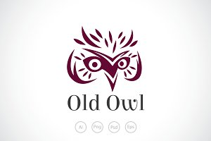 Old Wise Owl Logo Template