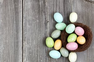 Easter eggs on vintage planks
