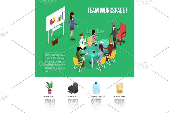 Team Workspace Isometric 3D Poster