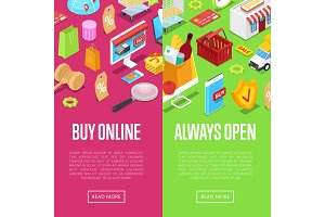 Online shopping isometric 3D posters