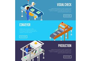 Production line isometric 3D posters set