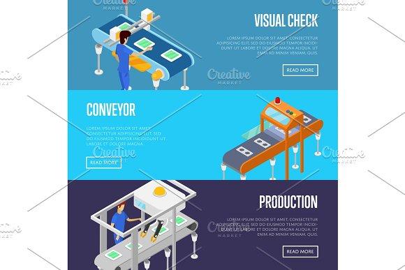 Production Line Isometric 3D Posters Set