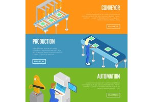 Smart robotic assembly line isometric 3D posters