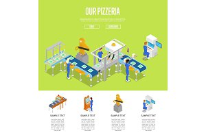 Assembly line isometric 3D poster