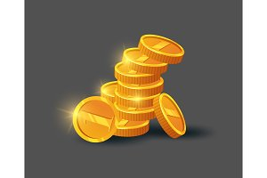 Stack of shiny golden coins icon
