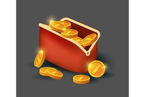 Golden coins in leather purse icon