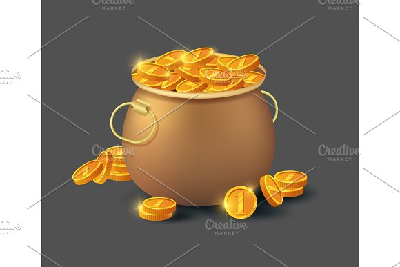 Golden Coins In Old Bronze Pot Icon