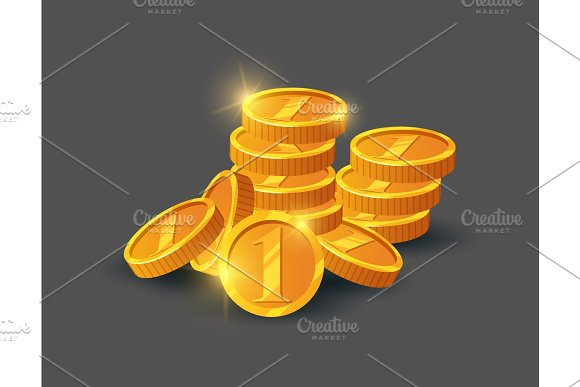 Pile Of Shiny Golden Coins Icon
