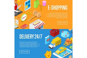 Online 24/7 shopping isometric 3D posters