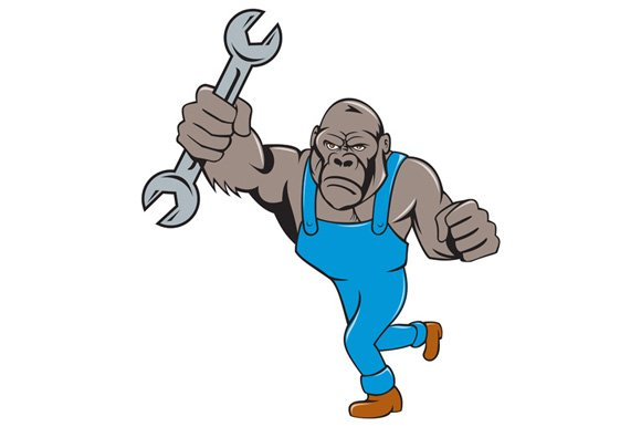 Angry Gorilla Mechanic Spanner Carto