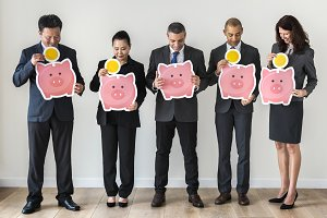 People holding piggybank icons