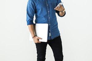 Man using digital devices