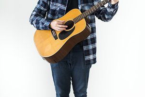 Cheerful man with guitar