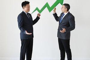 Businessmen with statistics icon