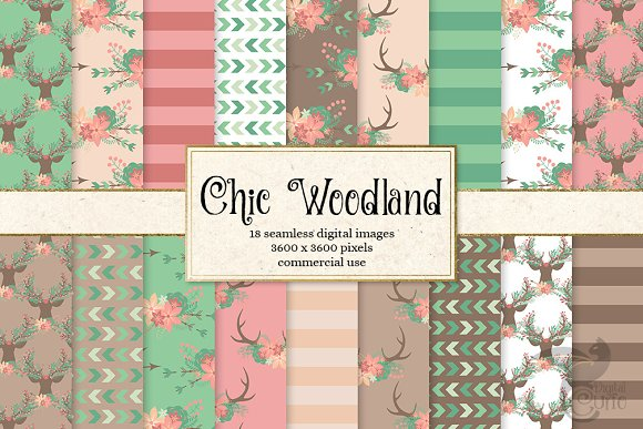 Chic Woodland Digital Paper