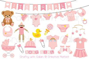 Pink Baby Clipart Set