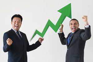 Businessmen with statistics icons