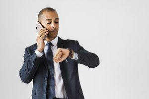 Businessman talking on call