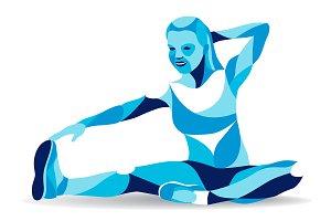 Fitness woman stretching leg