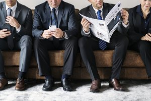 Business people with mobile