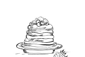 Pancake in sketch style, hand drawn