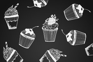 pattern with cupcakes, vector