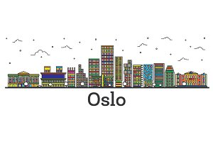 Outline Oslo Norway City Skyline