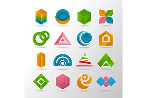Collection of abstract elements for logo