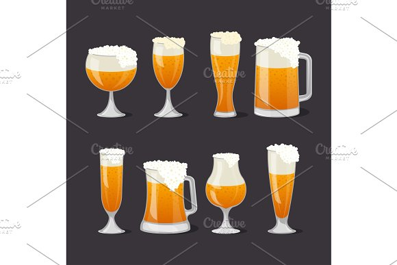 Beer Mugs With Foam Set In Cartoon Style