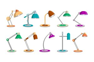 Desk light lamps set in flat style