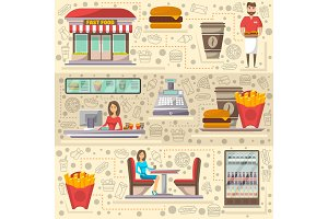 Street fast food cafe elements set in flat style