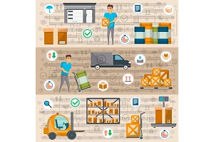 Warehouse management and delivery logistics set