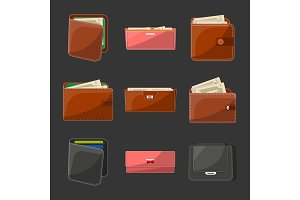 Various leather purses and wallets set