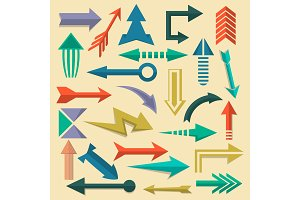 Retro arrow symbols set in flat style