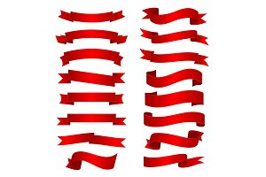 Red shiny curved ribbons set