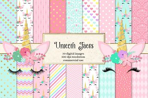 Unicorn Faces Digital Paper