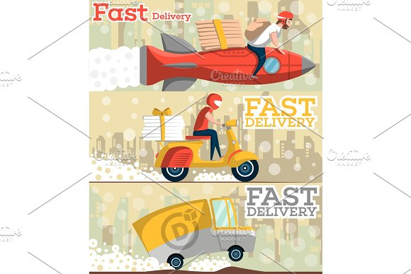 Fast Food And Pizza Delivery Flyers In Flat Style